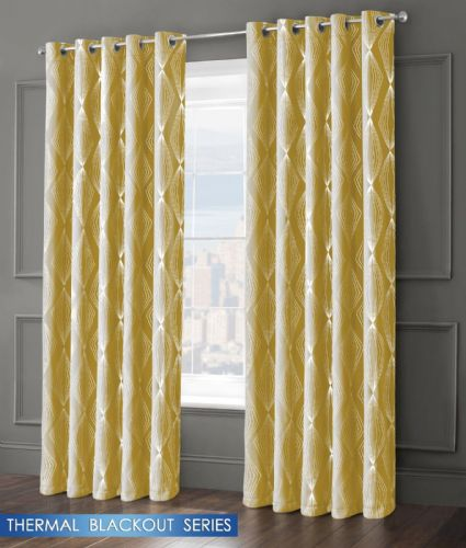 GEOMETRIC AZTEC LIVINGROOM BEDROOM THERMAL BLACKOUT RING TOP EYELET CURTAINS OCHRE